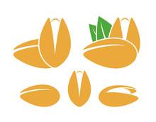Pistachio Nut  Logo. Isolated Pistachio Nut On White Background
