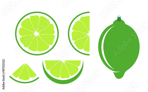 Valokuva Lime set. Isolated lime on white background