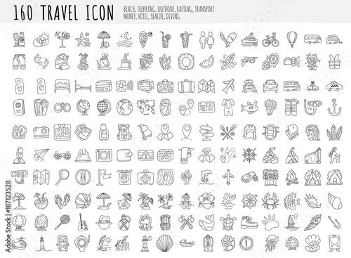 Valokuva Travel hand draw icons