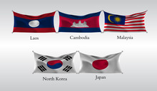 Set Flags Of Countries In Asia. Waving Flag Of Laos, Canmodia, Malaysia, North Korea, Japan. Vector Illustration
