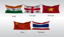 Set Flags Of Countries In Asia. India, Georgia, Vietnam, China, Thailand. Vector Illustration