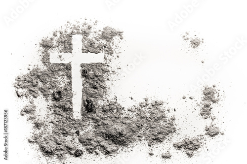 Fotografiet Christian cross or crucifix drawing in ash, dust or sand