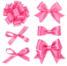 Set Of Decorative Pink Bows Is...