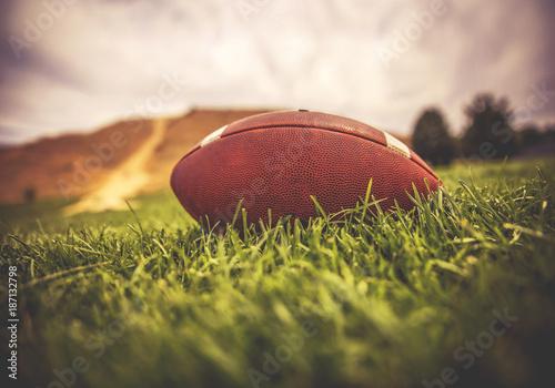 brązowy futbol amerykański leżący na zielonej trawie na polu ze wzgórzem i drzewami w tle, stonowany aplikacją filtrującą w stylu retro instagram lub efektem działania
