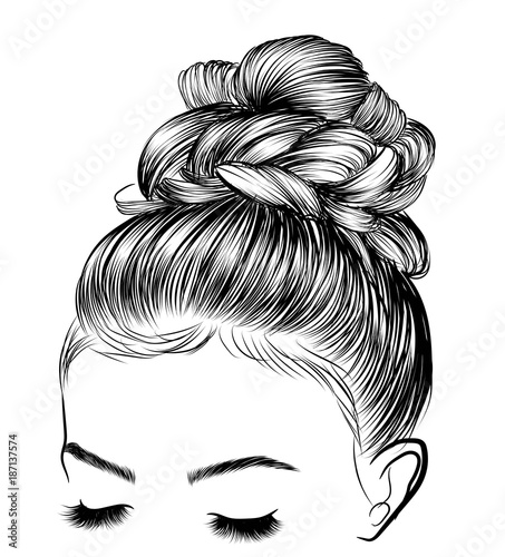 Hand Drawn Beauty Woman With Luxurious Cute Bun Hairstyle Idea For