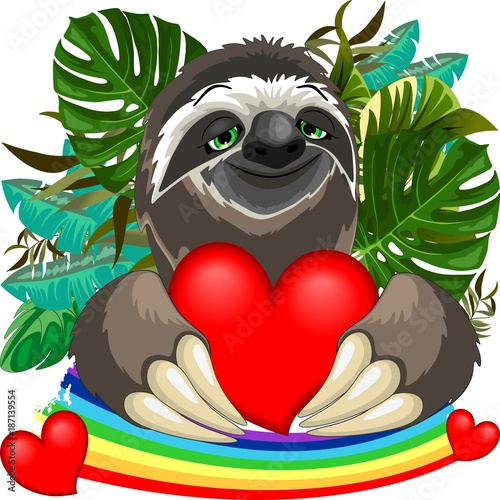 Deurstickers Draw Cute Sloth in Love
