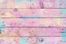 Pink And Mint Watercolor Wood