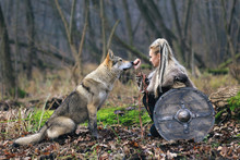 Beautiful Viking Warrior Woman In Traditional Warrior Clothes, With Ax And Shield, Next To An Wild Wolf