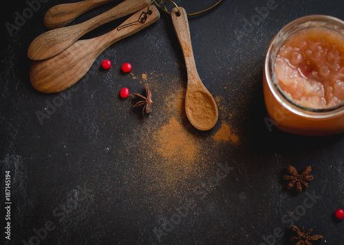 Spice in a Spoon on a Dark Background Wallpaper Mural