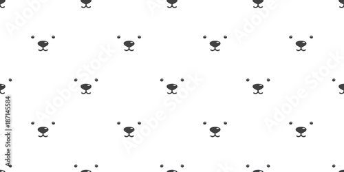 obraz lub plakat Bear Seamless Pattern vector polar bear face isolated background wallpaper white
