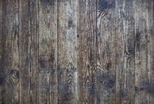 Texture Of Brown Wood. Rough Planks With Cracks And Knots.