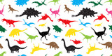 Fototapeta Dino - Seamless Pattern dino dinosaur vector isolated wallpaper background colorful