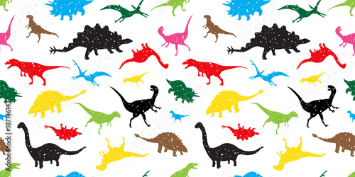 Photo  Seamless Pattern dino dinosaur vector isolated wallpaper background colorful