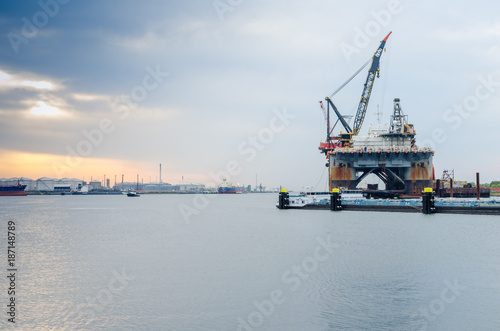 Semi-submersible crane vessel anchored in the port of Rotterdam, Netherlands Canvas Print