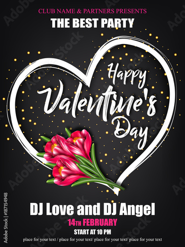 Vector Happy Valentines Day Party Poster With Lettering Pink