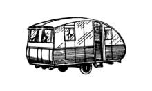 Vintage Caravan Trailer Illustration