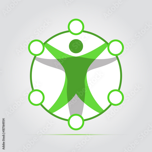 Colored Flat Icon Vector Design Modern Vitruvian Man Sign Of