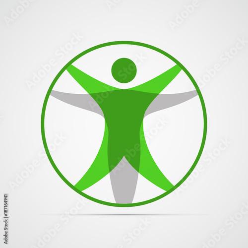 Colored Flat Icon Vector Design Modern Vitruvian Man Sign Of