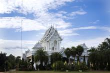 White Ubosot Of Wat Tham Khuha Sawan Temple Amphoe Khong Chiam, Ubon Ratchathani, Thailand