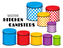 Kitchen Food Storage Canister Set, Checkerboard Design, Multi Color, Five Sizes