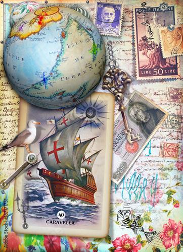 Papiers peints Imagination Sfondo veliero,mappamondo e cartoline vintage con disegni,collage,vecchi francobolli e manoscritti. Souvenirs di viaggio