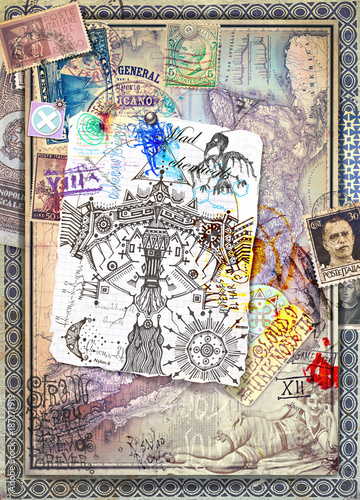 Foto op Aluminium Imagination Sfondo vecchio stile con tarocchi,antichi manoscritti,mappe,disegni misteriosi ed esoterici e vecchi documenti