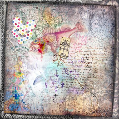 Poster Imagination Sfondo vecchio stile con tarocchi,antichi manoscritti,mappe,disegni misteriosi ed esoterici e vecchi documenti