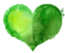 Watercolor Green Heart With A Lace Edge