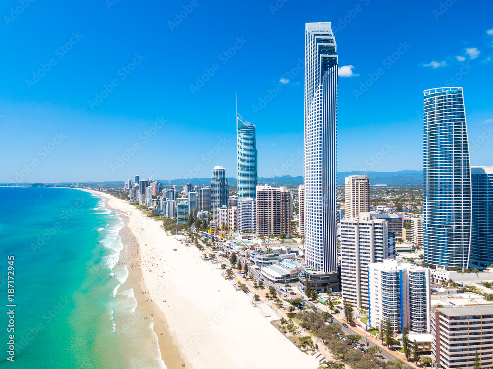 Fototapety, obrazy: Surfers Paradise aerial view on a clear day on the Gold Coast with blue water