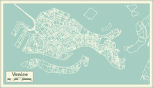 Venice Italy City Map In Retro...