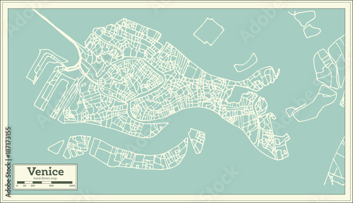 Obraz na plátně Venice Italy City Map in Retro Style.