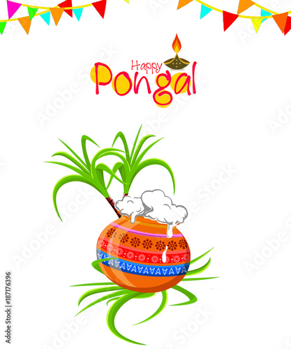 Foto op Canvas Vogels in kooien Happy Pongal Greeting Card Background.