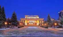 The Building Of The Novosibirsk Opera Theatre In The Winter At Night Illumination