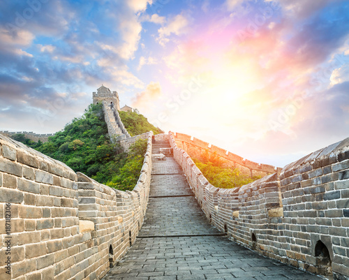 Stickers pour portes Muraille de Chine Great Wall of China at the jinshanling section,sunset landscape