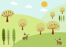 野兎と春の景色。風景。季節と自然のイラスト。素材。