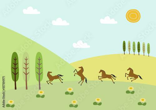 Foto op Canvas Lichtblauw 野生馬と春山の風景。