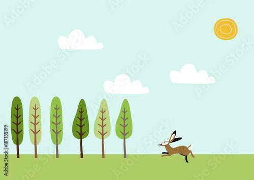Poster Lichtblauw 野兎と春の景色。風景。季節と自然のイラスト。素材。