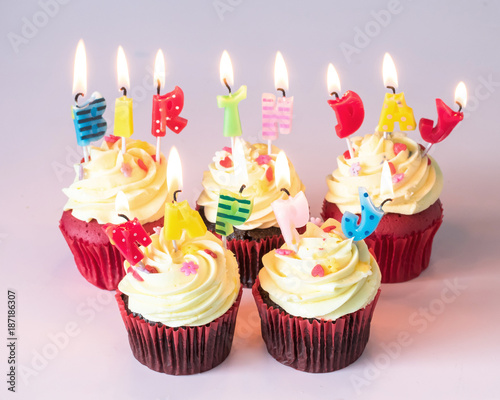 Birthday Cake Cupcake With Cute Candle Light Lit Up For Childrens Birth Day Anniversary Celebration