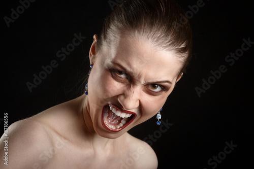 angry girl screaming Wallpaper Mural