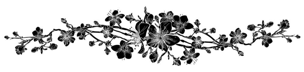 Element projektu motywu kwiatowego brzoskwiniowy kwiat wiśni