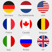 Circle Flags Icon Or Badges Set. Round National Symbol Of USA, UK, Holland, The Netherlands, Germany, Italy, Canada, France, Russia And Belgium. Vector Illustration.