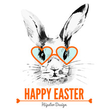 Hipster Easter Rabbit. Card Wi...