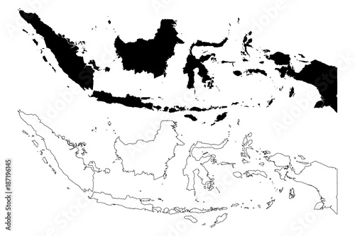 Fotomural Indonesia map vector illustration, scribble sketch Republic of Indonesia