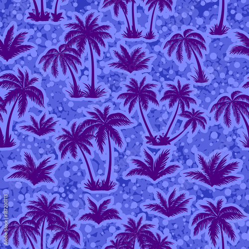 Keuken foto achterwand Violet Exotic Seamless Pattern, Tropical Landscape, Palms Trees Blue Silhouettes on Abstract Tile Background. Vector