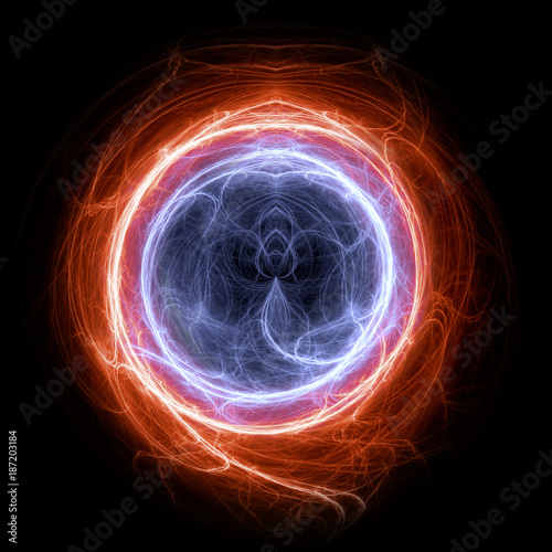 Fire and ice circle plasma and energy electrical lightning background Canvas Print