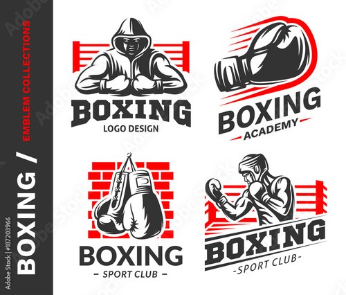 Boxing Logo Emblem Collections Designs Templates On A White Background