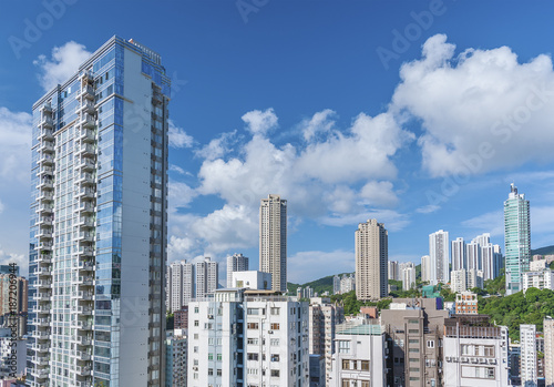 high rise residential building in Hong Kong city Poster
