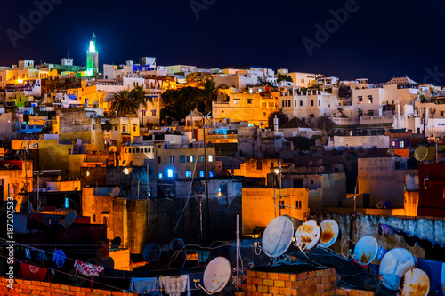 Tangier skyline at night, Morocco