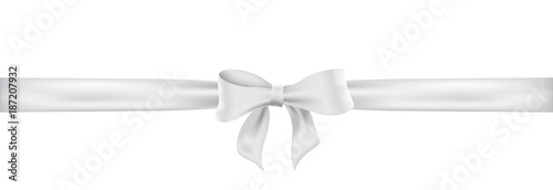 Foto Weiß Schleife. White satin ribbon and bow vector illustration.
