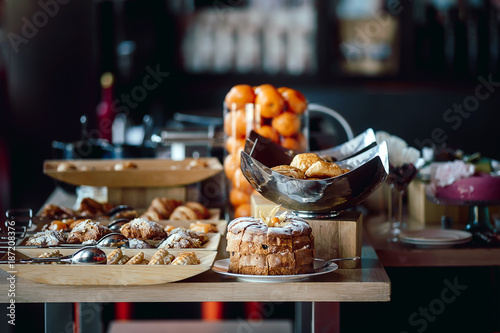Fotografie, Obraz  Assortment of fresh pastry on table in buffet